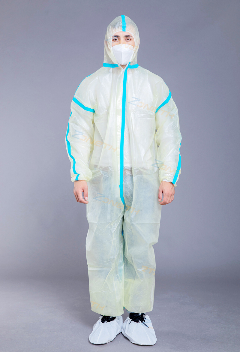 37gsm PP+PE Disposable Protective Coverall with taping