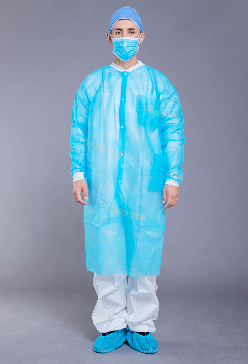 35gsm PP/SMS Disposable Lab Coat with  rib collar and cuffs