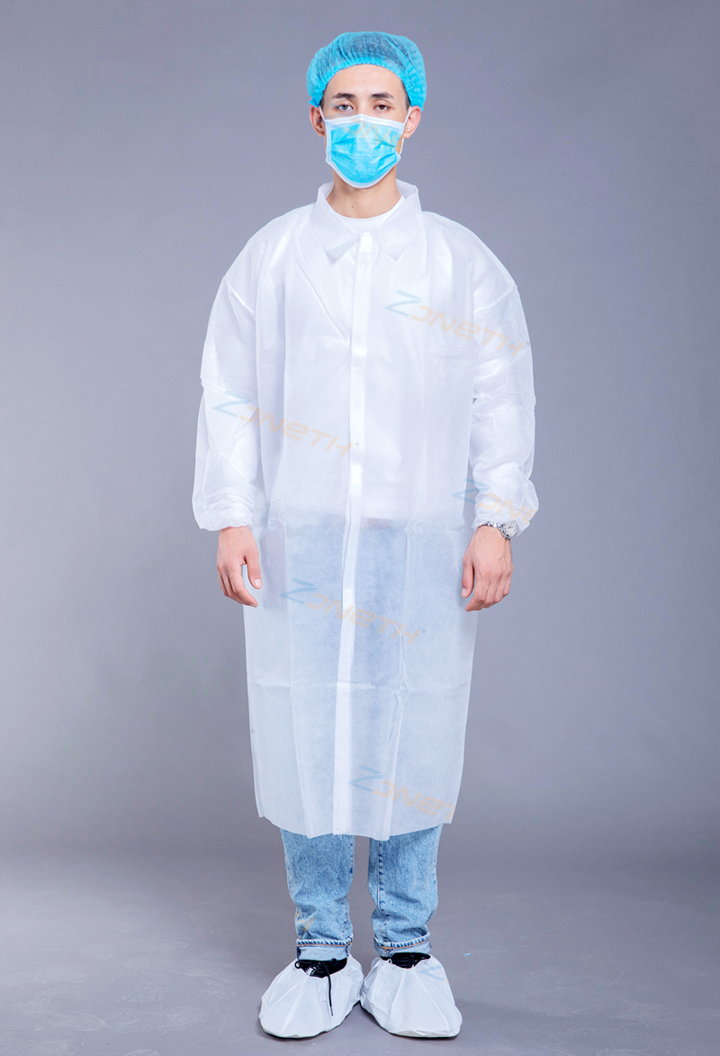 35gsm PP/SMS Disposable Lab Coat with HOOK & LOOP