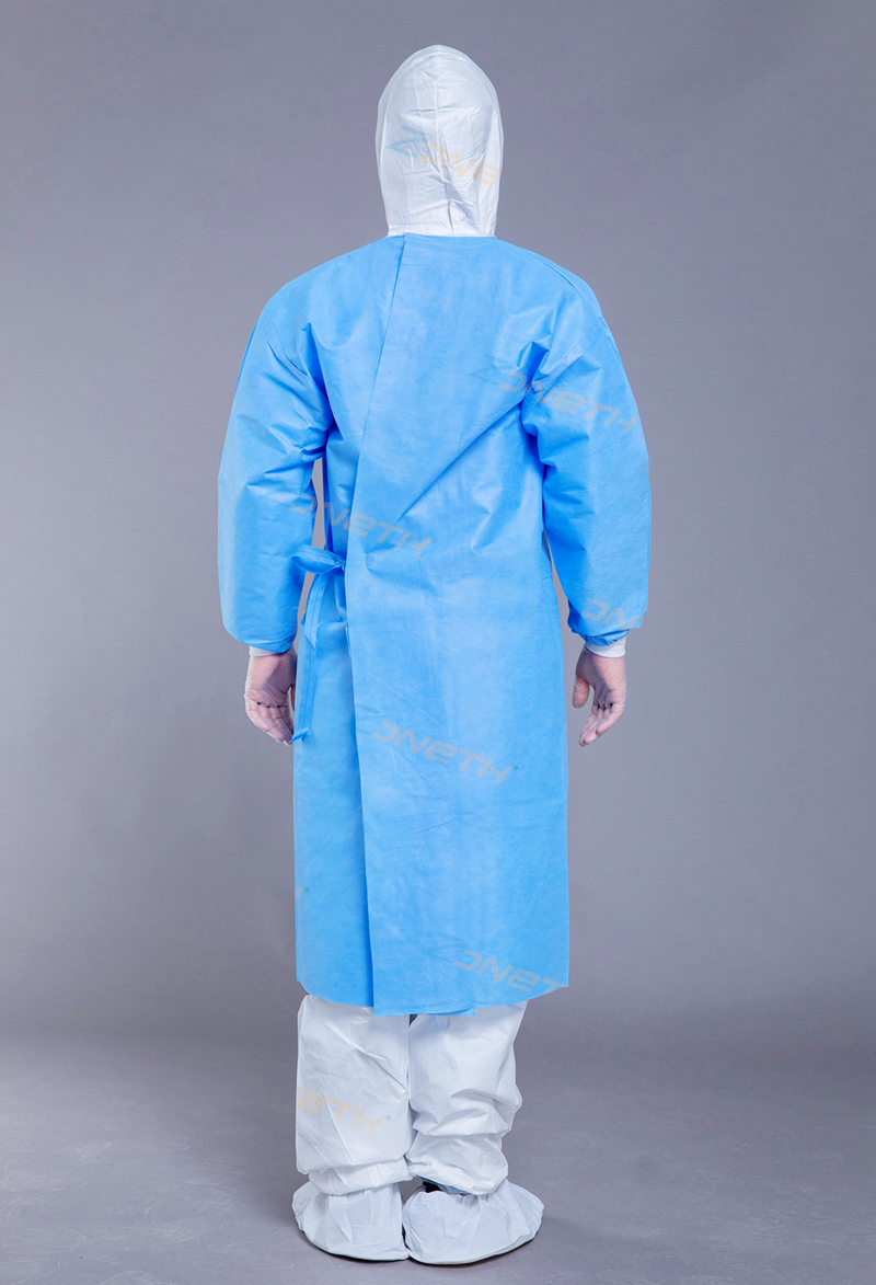 100gsm SMMS Medical Sugical Gown coated cover chest and sleeve